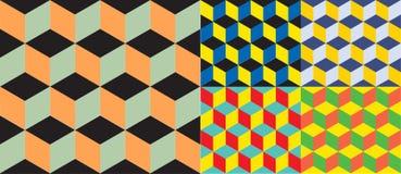 Bezszwowy geometryczny kolorowy wektorowy tło Sześcianów kształty złudzenie optyczne ilustracja wektor