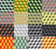 Bezszwowy geometryczny kolorowy wektorowy tło Sześcianów kształty złudzenie optyczne royalty ilustracja