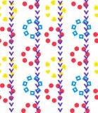 Bezszwowy geometryczny ornamentu wzór trzony czek oceną i kwiaty kształtami na bielu kwadrat, serce i okrąg, royalty ilustracja