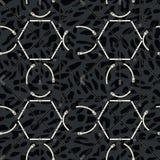 Bezszwowy geometryczny wzór z paskami i klamrami Powikłany wektorowy druk w czerni, popielaty i biały royalty ilustracja