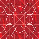 Bezszwowy geometryczny wzór z paskami, tulipanami i klamrami, Powikłany wektorowy druk w czerwieni, Burgundy koralu i śmietance, ilustracja wektor