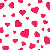 Bezszwowy geometryczny wzór, czerwony kierowy valentine ` s dzień na białym tle, paskuje abstrakcjonistycznego szablon, wektorowa Obrazy Royalty Free