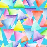 Bezszwowy geometryczny wzór z jaskrawymi trójbokami Fotografia Royalty Free