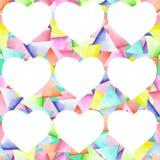 Bezszwowy geometryczny wzór z jaskrawymi trójbokami i białymi sercami Zdjęcie Royalty Free