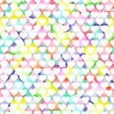 Bezszwowy geometryczny wzór z jaskrawymi trójbokami i białymi sercami Obrazy Stock