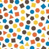 Bezszwowy geometryczny wzór z kwadratami, trójbokami, okręgami, pentagonami, sześciokątami i siedmiokątami dla, tkanki i pocztówe ilustracja wektor