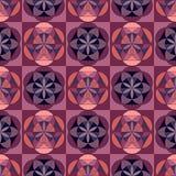 Bezszwowy geometryczny wzór z kwadratami z ornamentem w dwa różnych kolorach Fiołek, menchia, bez ilustracji
