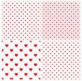 Bezszwowy geometryczny wzór z sercami, tekstura, 4 p niekończący się czerwień Zdjęcie Royalty Free
