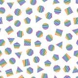 Bezszwowy geometryczny wzór z stubarwnymi geometrycznymi elementami dla tkanki i pocztówek Modnisia koloru nowożytny tło ilustracja wektor
