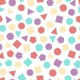 Bezszwowy geometryczny wzór z stubarwnymi kwadratami, trójbokami, okręgami, pentagonami, sześciokątami i siedmiokątami dla, tkank royalty ilustracja