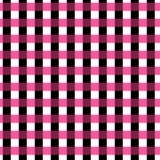 Bezszwowy gingham wzór geometryczny tło Czerni, menchii i bielu lampasy, Zdjęcie Stock