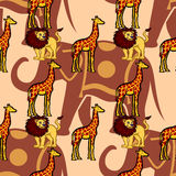 Bezszwowy grafika wzór z ślicznymi dzikimi zwierzętami Zdjęcie Royalty Free
