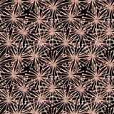Bezszwowy guaszu spiderweb wzór od beżowych surrealistycznych kwiatów czerni royalty ilustracja
