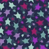 Bezszwowy gwiazda wzór: kolorowi doodles na ciemnym b Obrazy Royalty Free