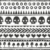 Bezszwowy Halloween wzór w plemiennym stylu Wektorowy tło z grunge teksturą ilustracja wektor