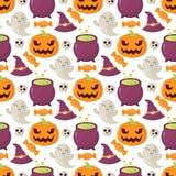 Bezszwowy Halloween wzór z czaszkami, baniami, kapeluszami i cukierkiem, Zdjęcia Stock