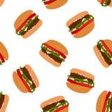 Bezszwowy hamburgeru tła wzór Obraz Stock