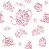 Bezszwowy herbacianego przyjęcia wektoru wzoru tło Ilustracji
