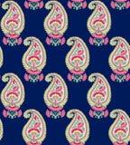 Bezszwowy hindus Paisley z błękitnym tłem ilustracja wektor
