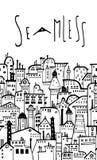 Bezszwowy horyzontalny miasto wzór Zdjęcia Stock