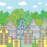 Bezszwowy horyzontalny tło z domami i drzewami royalty ilustracja