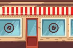Bezszwowy horyzontalny tło z uliczną kawiarnią, piekarnią lub sklep z kawą, Wektorowa kreskówki ilustracja miasto budynek royalty ilustracja