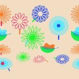 Bezszwowy horyzontalny wzór kwiecisty motyw, kwiaty, liście, Fotografia Royalty Free
