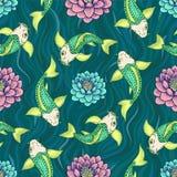 Bezszwowy Japonia wzór z Koi ryba karpia tłem Obrazy Royalty Free