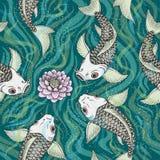 Bezszwowy Japonia wzór z Koi ryba karpia tłem Zdjęcie Stock