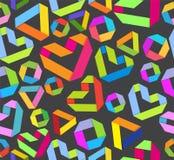 Bezszwowy jaskrawy tło z papierowym sercem i geometrical figu Fotografia Royalty Free