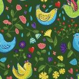 Bezszwowy jaskrawy wektorowy wiosna wzór z ptakami w kreskówka stylu Zdjęcie Stock
