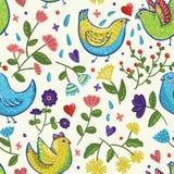 Bezszwowy jaskrawy wektorowy wiosna wzór z ptakami w kreskówka stylu Obrazy Royalty Free
