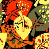Bezszwowy jesień liści wzór, modny druk w kolażu ciie out, Zdjęcie Stock
