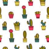 Bezszwowy kaktusa wzór Obrazy Stock