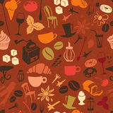 Bezszwowy kawa wzór z latte, cappuccino, kulebiaki, pączki, Obrazy Stock