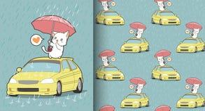 Bezszwowy kawaii kot ochrania samochodowego wzór ilustracja wektor