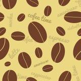 Bezszwowy kawowych fasoli tło Zdjęcia Stock