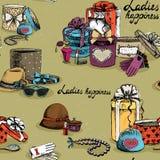 Bezszwowy kobiety akcesorium z prezentów pudełkami ilustracja wektor