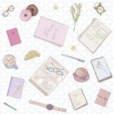 Bezszwowy kobiety ` s wzór Ręka rysująca ilustracja w pastelowych kolorach pracuje notatki, tła studiowanie, kreatywnie styl życi Obrazy Stock