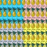 Bezszwowy kolekcja wzoru ananas Obrazy Stock