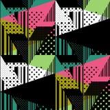 Bezszwowy kolorowy abstrakcjonistyczny lampasa i polki kropki wzór patchwork Obraz Royalty Free