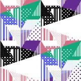 Bezszwowy kolorowy abstrakcjonistyczny lampasa i polki kropki wzór patchwork Fotografia Royalty Free