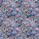 Bezszwowy kolorowy tło z liśćmi, akrylowy obraz Zdjęcia Royalty Free