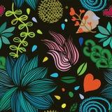 Bezszwowy kolorowy wektorowy kwiecisty wzór na ciemnym tle Obrazy Royalty Free