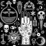 Bezszwowy koloru wzór: istot ludzkich ręki w tatuażach, alchemical symbole royalty ilustracja