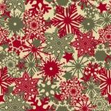 Bezszwowy koloru wzór z setem barwioni płatki śniegu Wektorowi ilustracja wektor