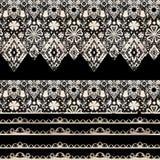 Bezszwowy koronkowy koronkowy washi nagrywa faborku wzór na czerni Obrazy Stock