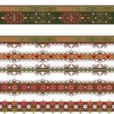 Bezszwowy koronkowy koronkowy washi taśm wzór na białym tle Zdjęcie Stock