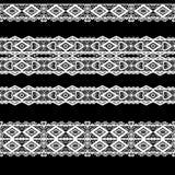 Bezszwowy koronkowy koronkowy washi taśm wzór na czarnym tle Zdjęcie Stock