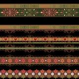 Bezszwowy koronkowy koronkowy washi taśm wzór na czarnym tle Fotografia Royalty Free